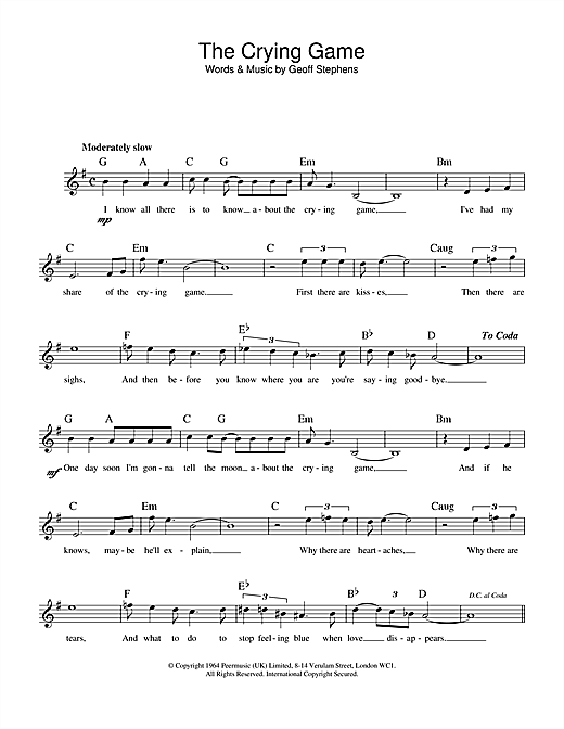 Geoff Stephens The Crying Game sheet music notes printable PDF score