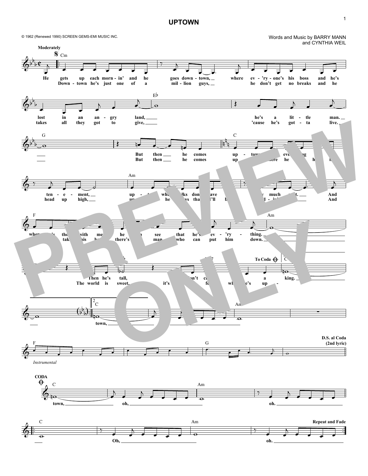 The Crystals Uptown sheet music notes and chords - download printable PDF.