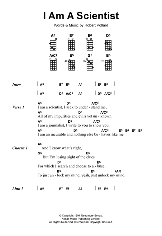 The Dandy Warhols I Am A Scientist sheet music notes and chords. Download Printable PDF.