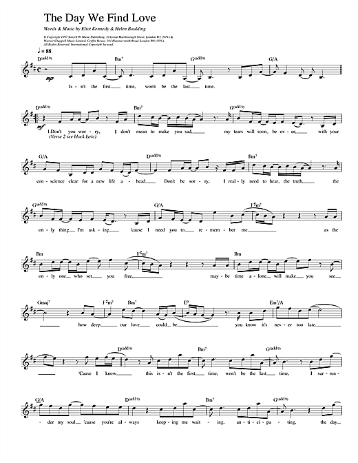 911 The Day We Find Love sheet music notes printable PDF score