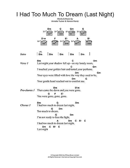 The Electric Prunes I Had Too Much To Dream (Last Night) sheet music notes and chords - download printable PDF.