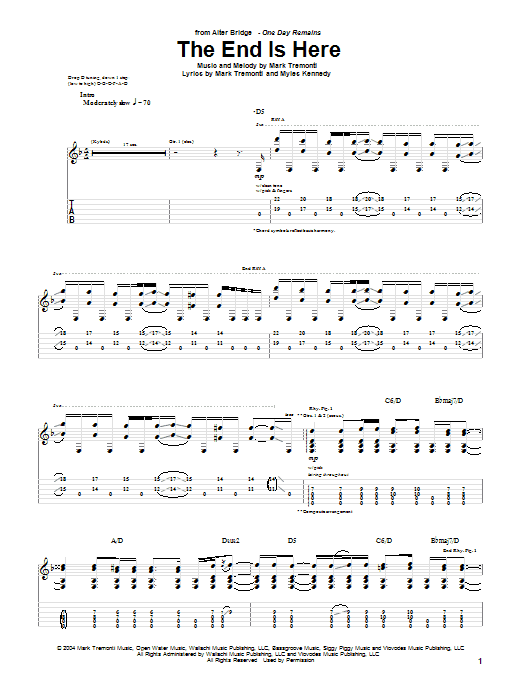 Alter Bridge The End Is Here sheet music notes printable PDF score