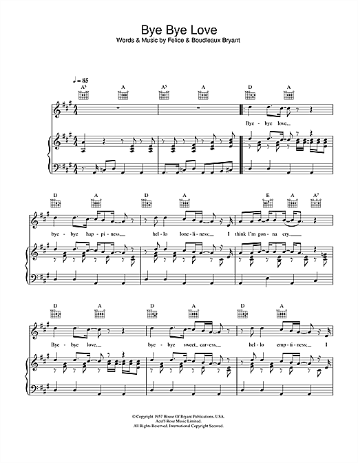 The Everly Brothers Bye Bye Love sheet music notes and chords. Download Printable PDF.