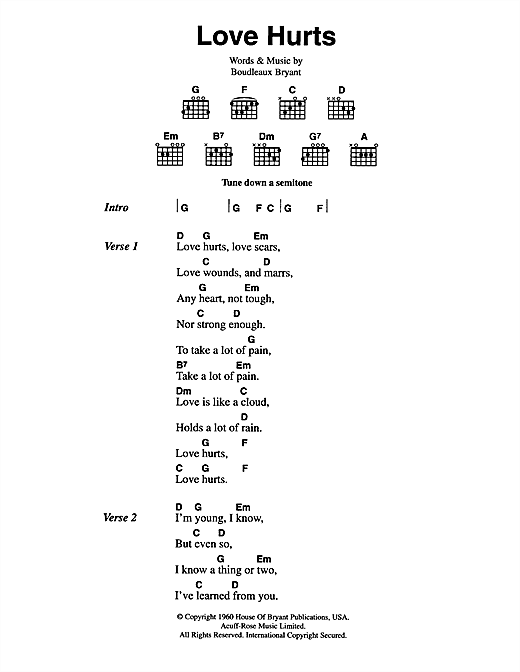 The Everly Brothers Love Hurts sheet music notes and chords. Download Printable PDF.