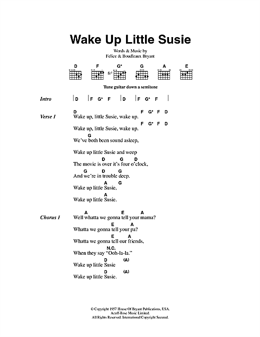 The Everly Brothers Wake Up Little Susie sheet music notes and chords. Download Printable PDF.