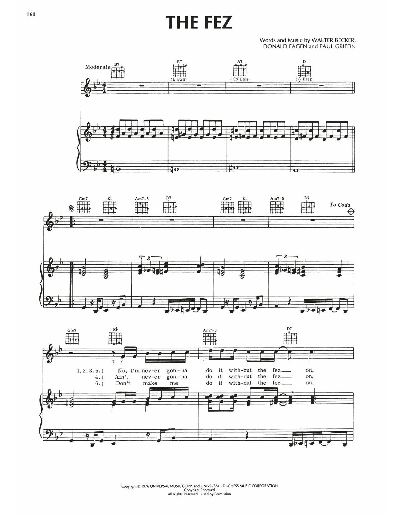Steely Dan The Fez sheet music notes printable PDF score