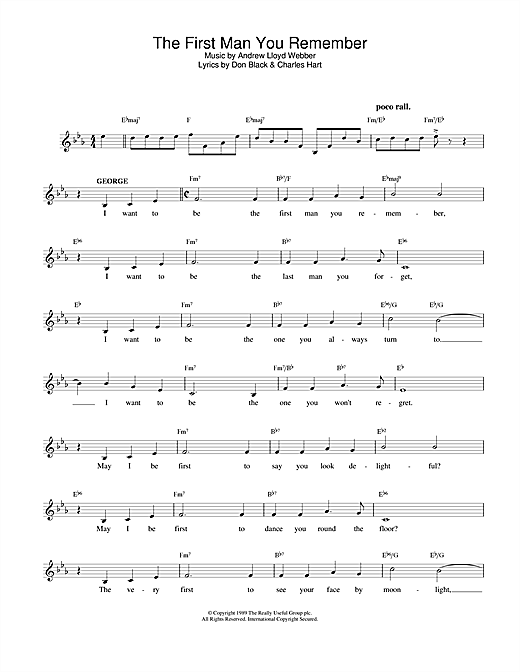 Andrew Lloyd Webber The First Man You Remember (from Aspects Of Love) sheet music notes printable PDF score