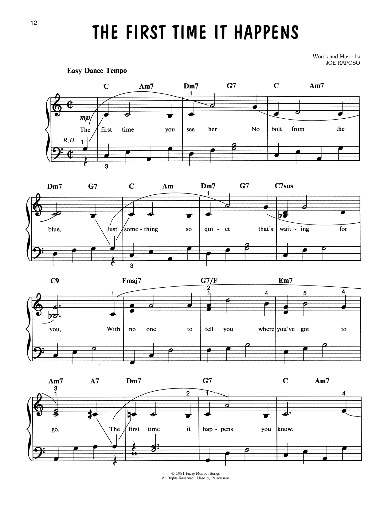 Joe Raposo The First Time It Happens (from The Great Muppet Caper) sheet music notes printable PDF score