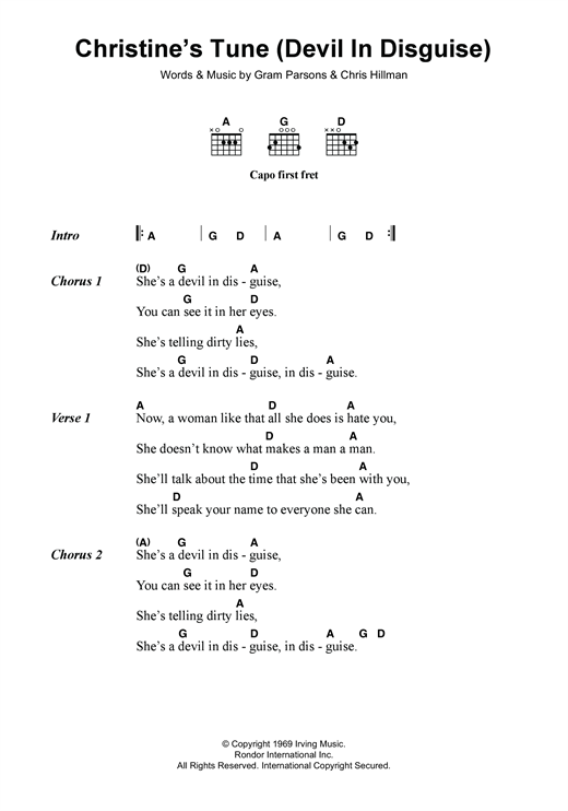 The Flying Burrito Brothers Christine's Tune (Devil In Disguise) sheet music notes and chords. Download Printable PDF.