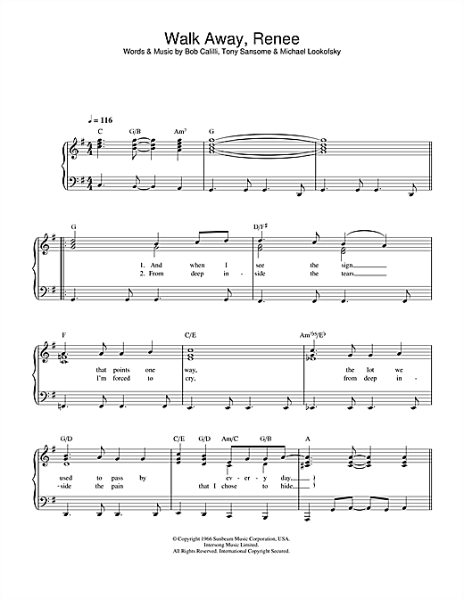 The Four Tops Walk Away, Renee sheet music notes and chords - download printable PDF.