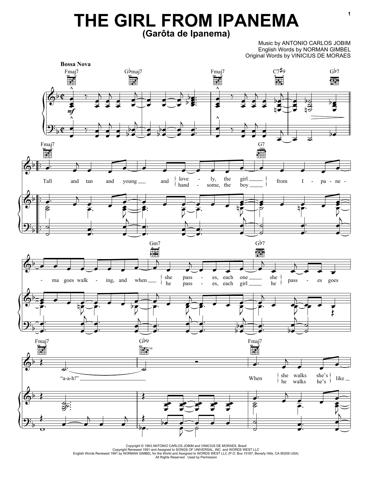 Frank Sinatra The Girl From Ipanema (Garota De Ipanema) sheet music notes printable PDF score