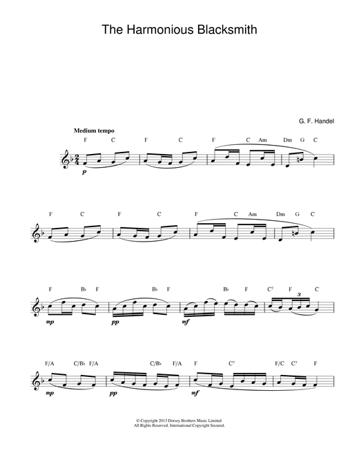 George Frideric Handel The Harmonious Blacksmith sheet music notes printable PDF score