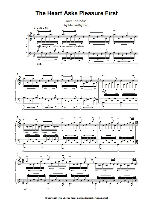 Michael Nyman The Heart Asks Pleasure First: The Promise/The Sacrifice (from The Piano) sheet music notes printable PDF score