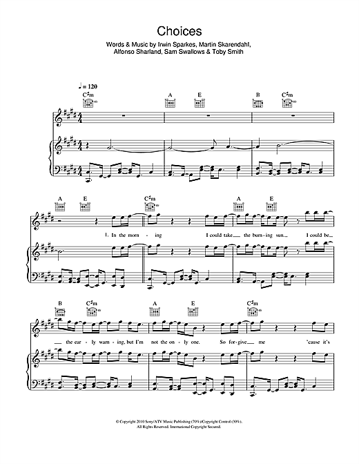 The Hoosiers Choices sheet music notes and chords. Download Printable PDF.