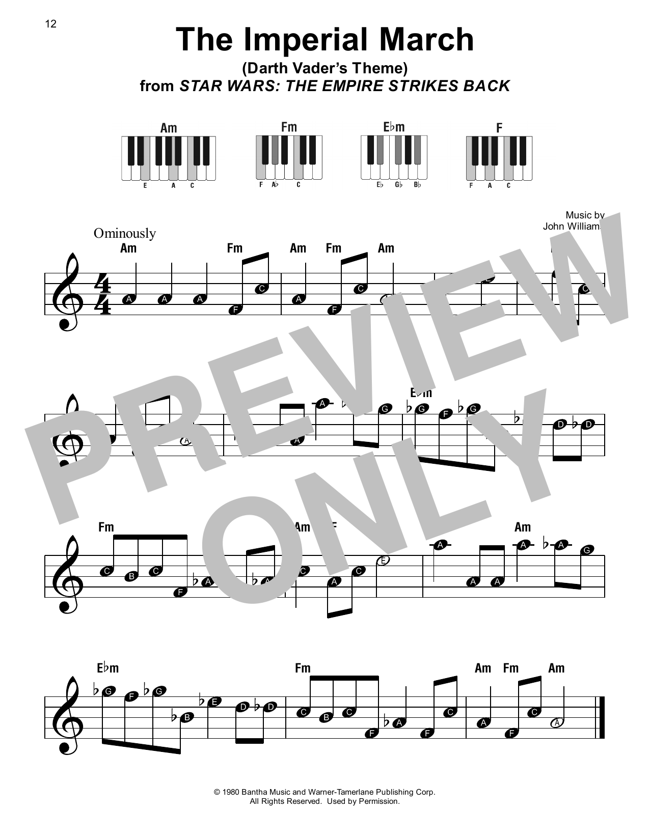 John Williams The Imperial March (from Star Wars: The Empire Strikes Back) sheet music notes printable PDF score