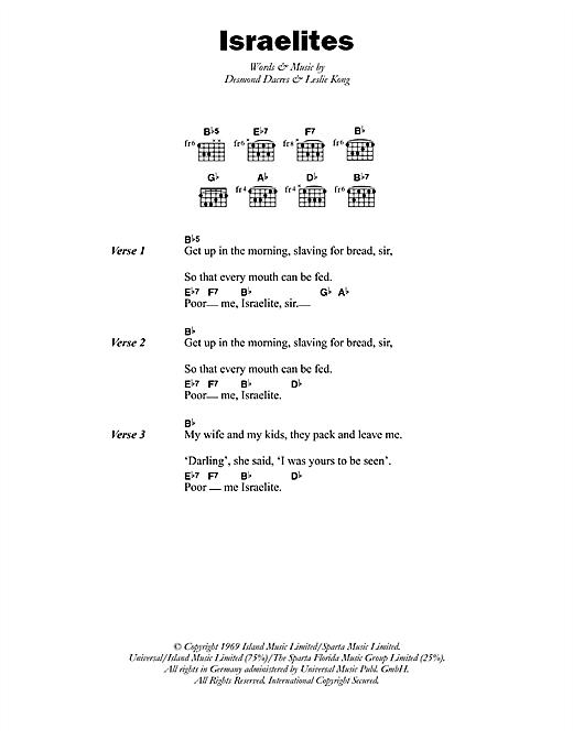 Desmond Dekker The Israelites sheet music notes printable PDF score