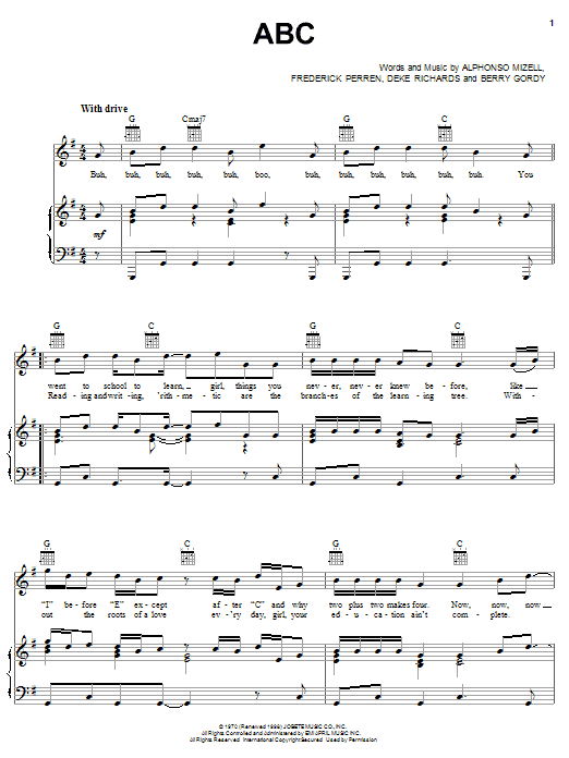 The Jackson 5 ABC sheet music notes and chords. Download Printable PDF.