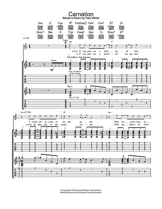 The Jam Carnation sheet music notes printable PDF score