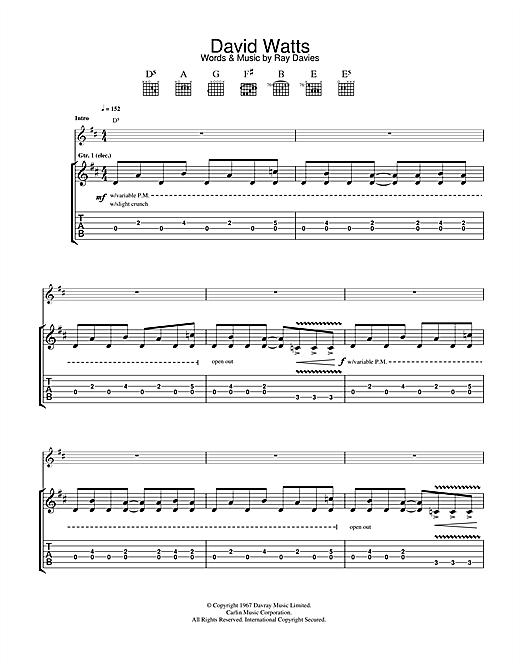 The Jam David Watts sheet music notes printable PDF score