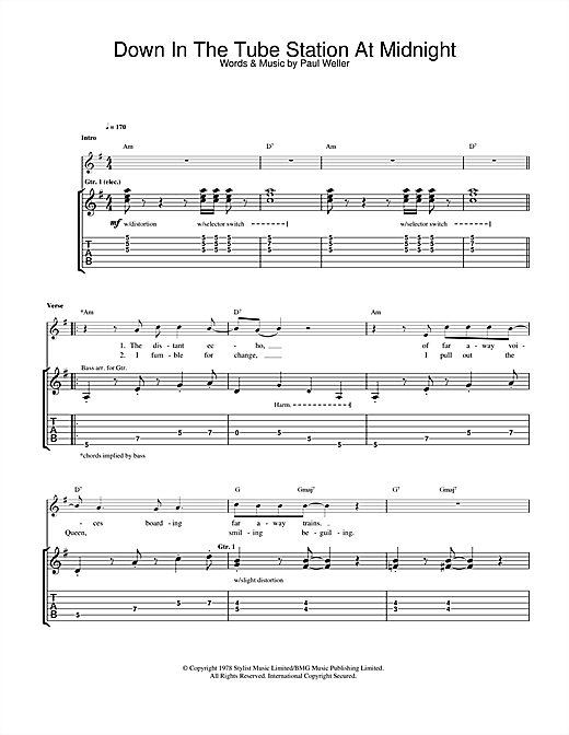 The Jam Down In The Tube Station At Midnight sheet music notes printable PDF score