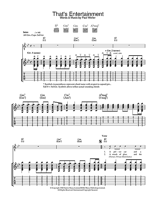 The Jam That's Entertainment sheet music notes and chords - download printable PDF.