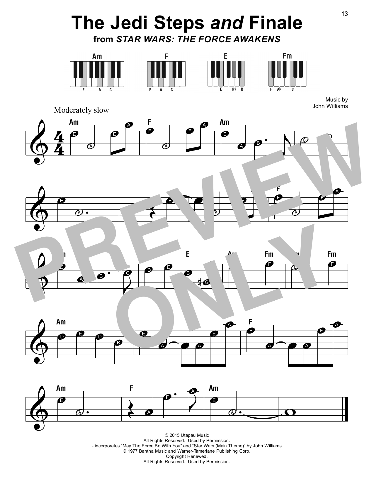 John Williams The Jedi Steps And Finale (from Star Wars: The Force Awakens) sheet music notes printable PDF score