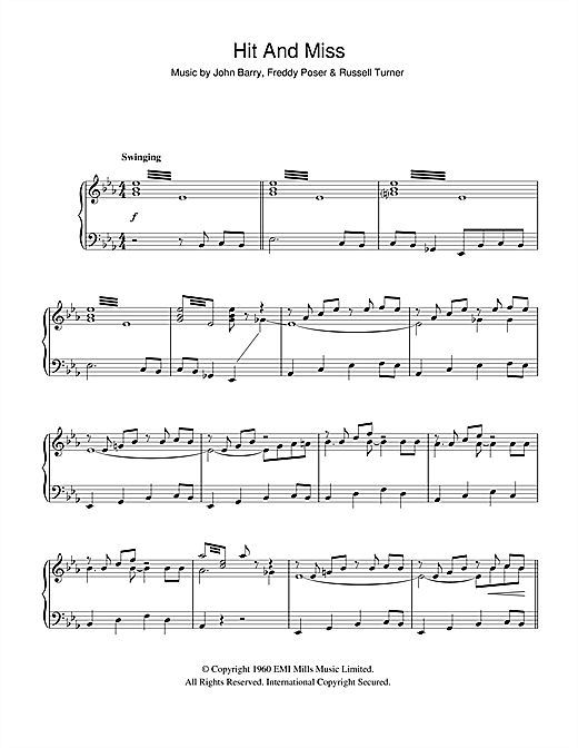 The John Barry Seven Hit And Miss sheet music notes and chords. Download Printable PDF.
