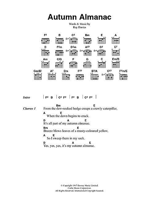 The Kinks Autumn Almanac sheet music notes printable PDF score