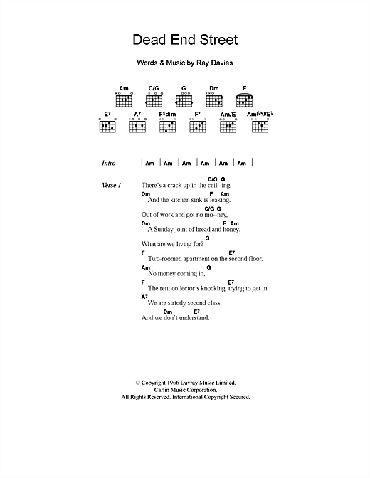 The Kinks Dead End Street sheet music notes printable PDF score
