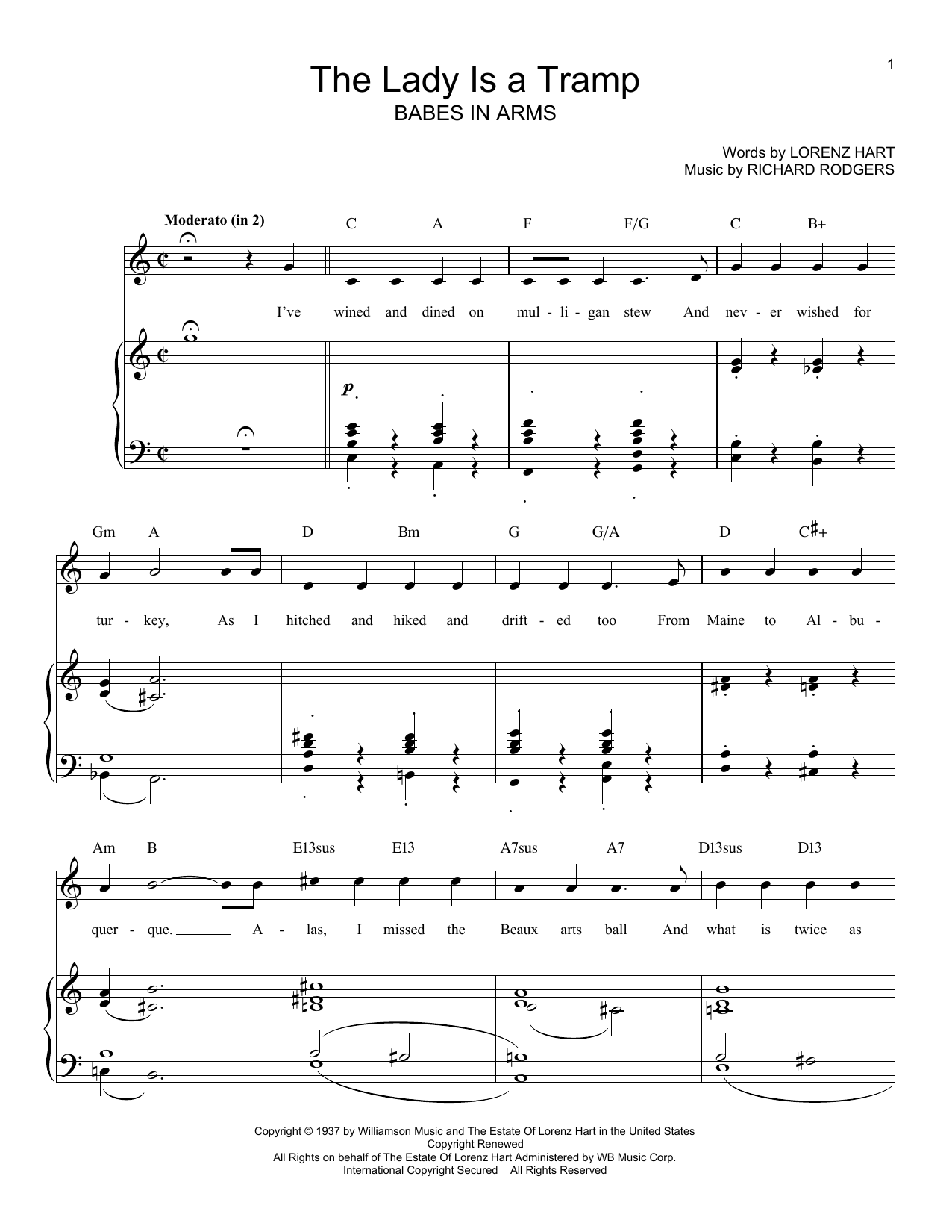 Rodgers & Hart The Lady Is A Tramp sheet music notes printable PDF score