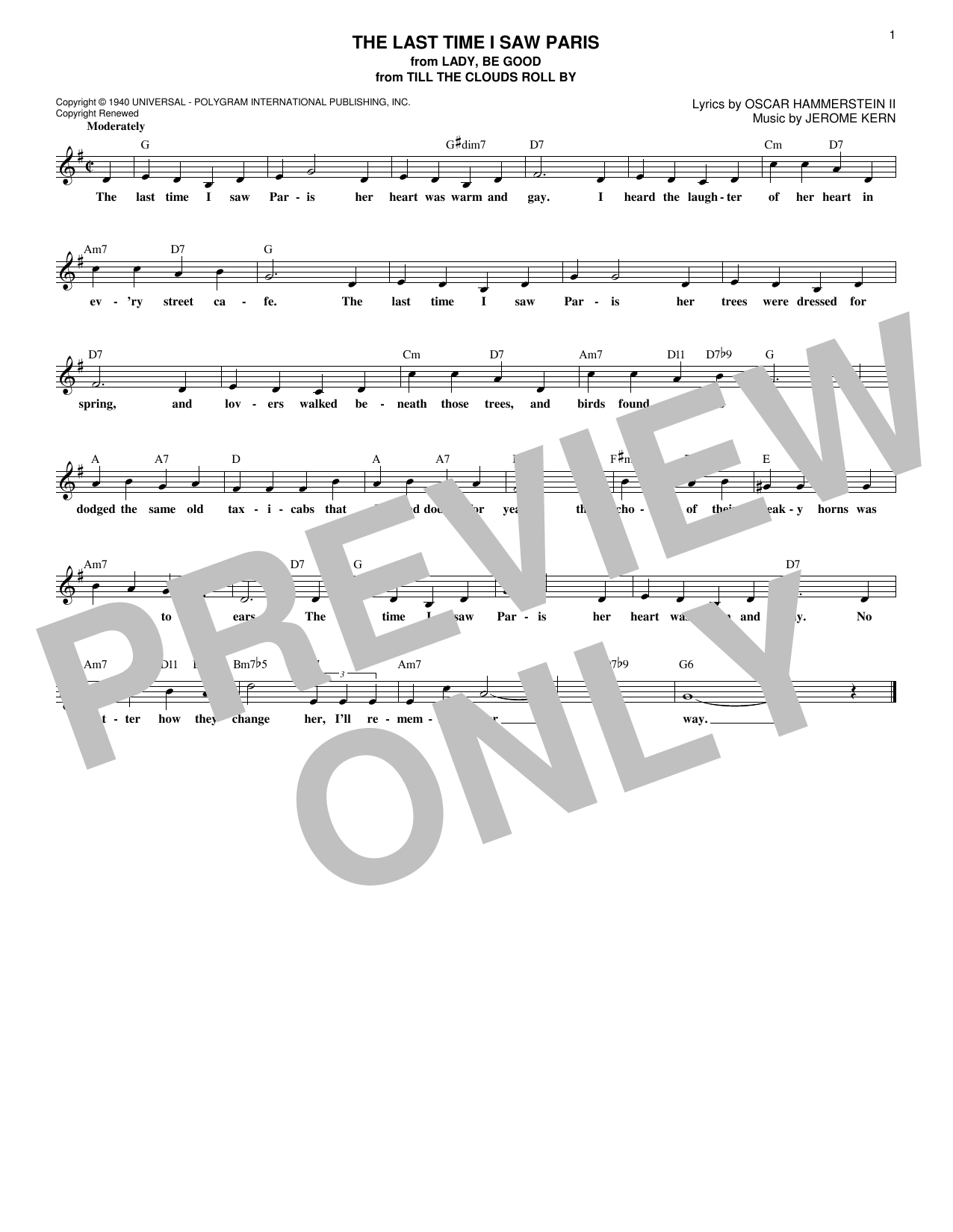 Oscar Hammerstein II & Jerome Kern The Last Time I Saw Paris sheet music notes printable PDF score