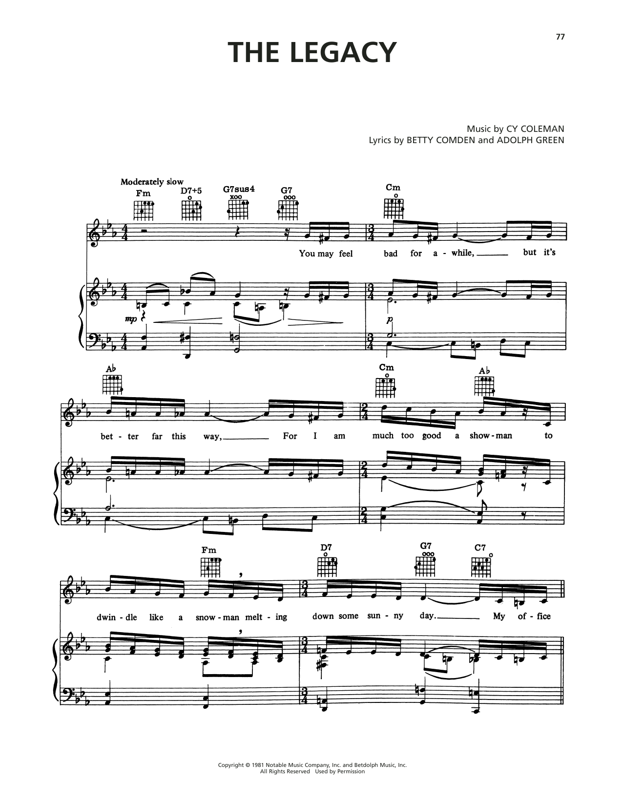 Cy Coleman The Legacy (from On The Twentieth Century) sheet music notes printable PDF score