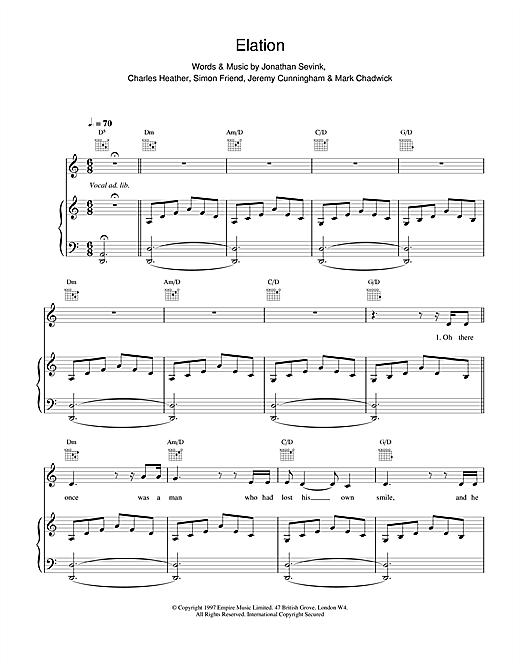 The Levellers Elation sheet music notes printable PDF score