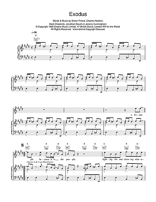 The Levellers Exodus sheet music notes printable PDF score