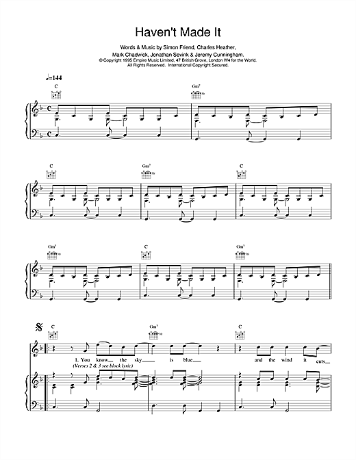 The Levellers Haven't Made It sheet music notes printable PDF score