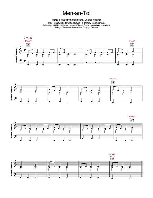 The Levellers Men-an-Tol sheet music notes printable PDF score