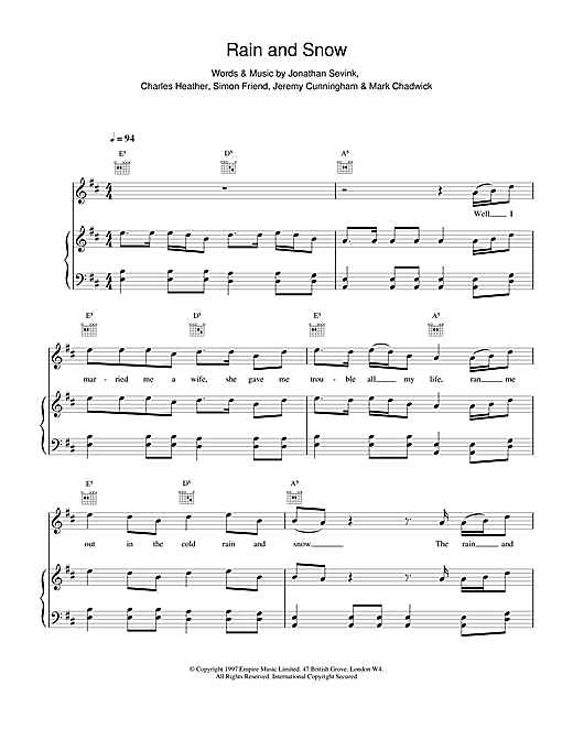 The Levellers Rain And Snow sheet music notes printable PDF score
