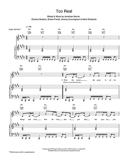 The Levellers Too Real sheet music notes printable PDF score