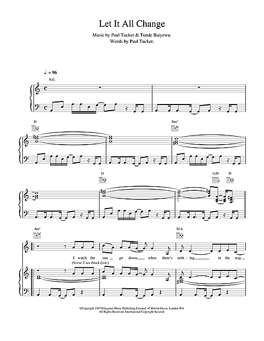 The Lighthouse Family Let It All Change sheet music notes printable PDF score