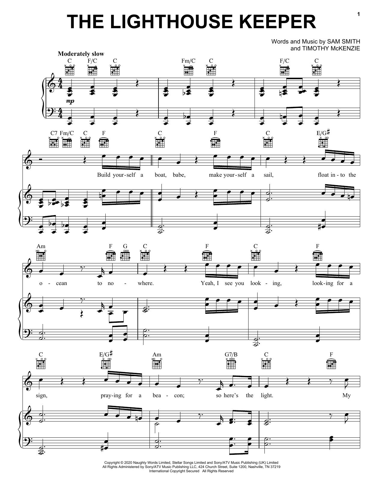 Sam Smith The Lighthouse Keeper sheet music notes printable PDF score