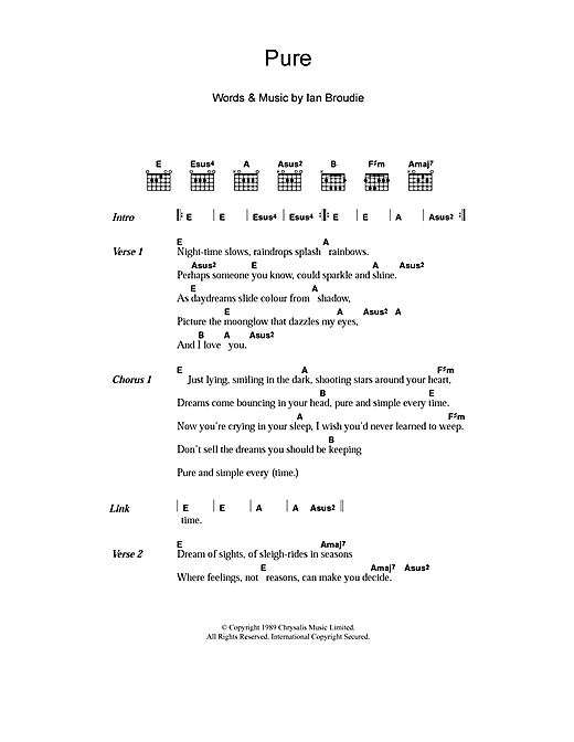 The Lightning Seeds Pure sheet music notes and chords. Download Printable PDF.
