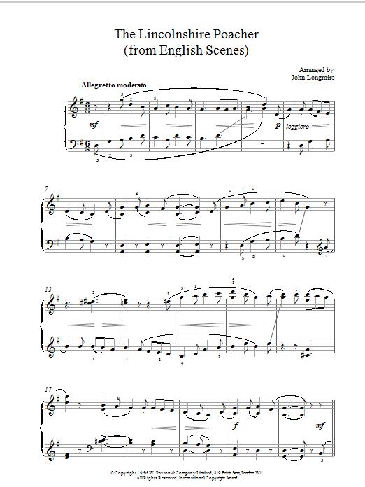 John Basil Hugh Longmire The Lincolnshire Poacher sheet music notes printable PDF score