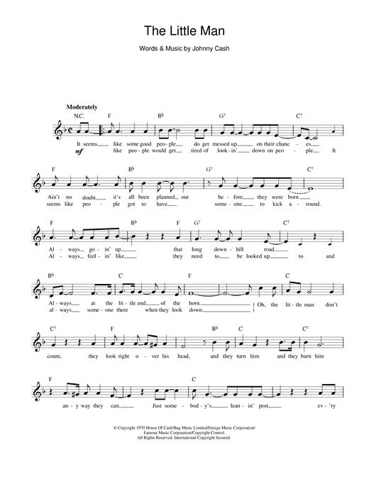 Johnny Cash The Little Man sheet music notes printable PDF score