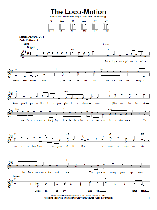 Grand Funk Railroad The Loco-Motion sheet music notes printable PDF score