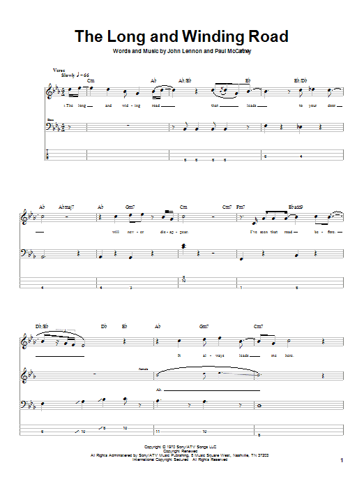 The Beatles The Long And Winding Road sheet music notes printable PDF score