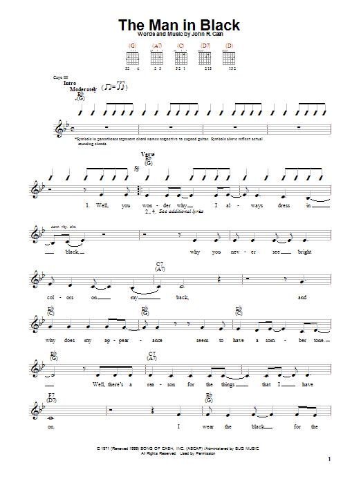 Johnny Cash The Man In Black sheet music notes printable PDF score