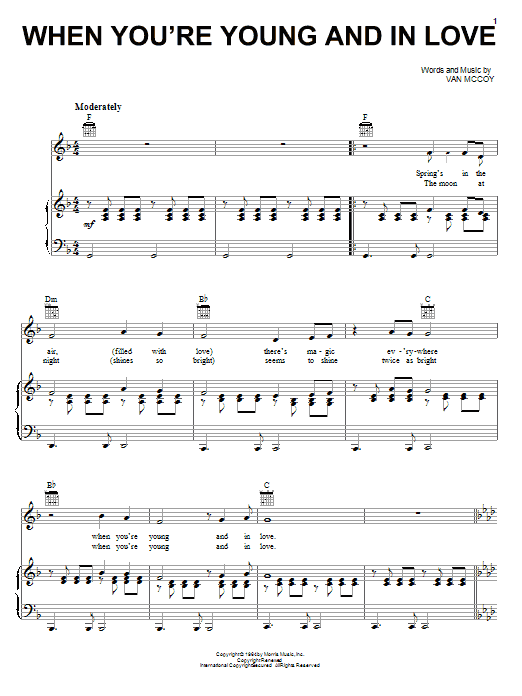 The Marvelettes When You're Young And In Love sheet music notes printable PDF score