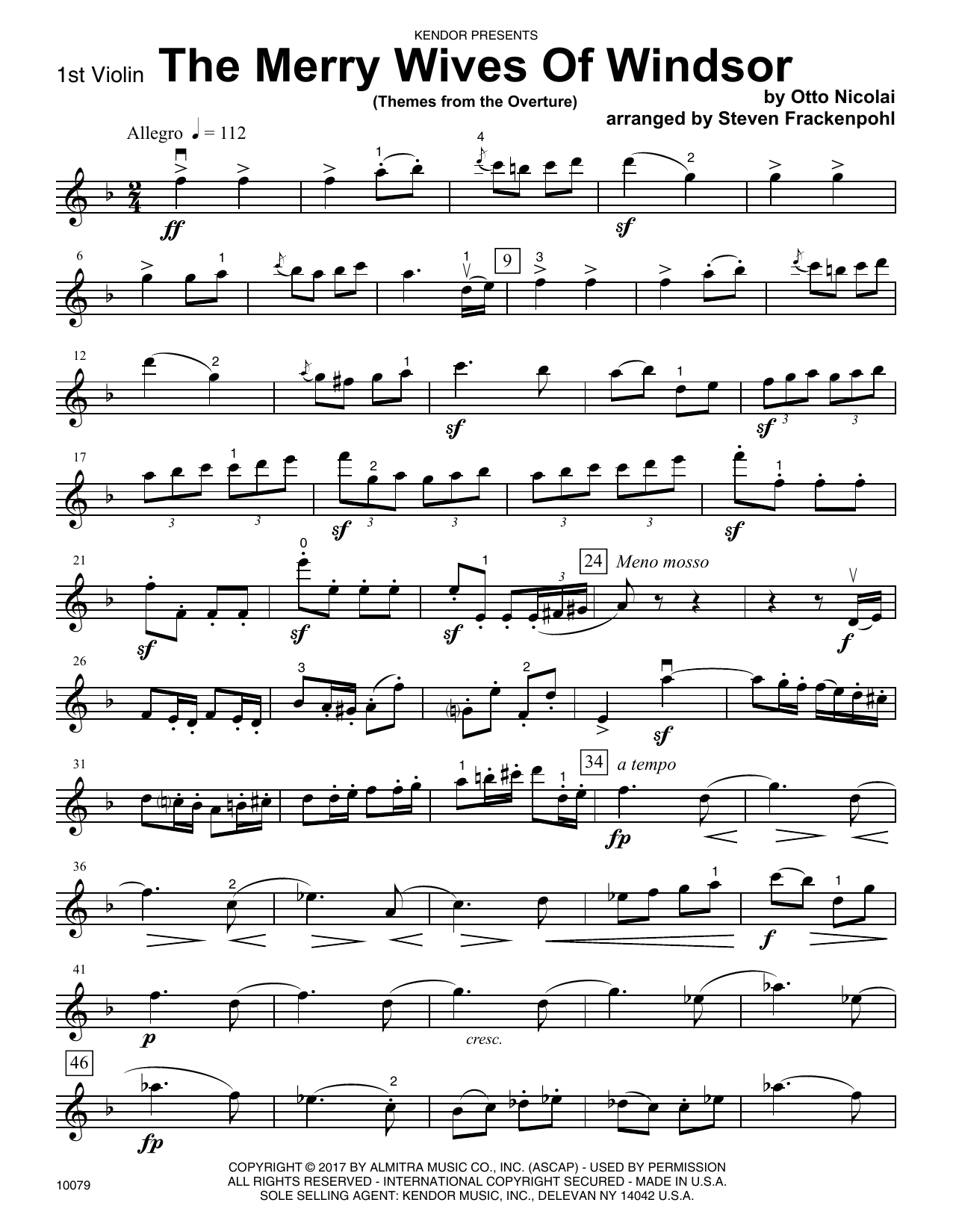 Steven Frackenpohl The Merry Wives Of Windsor (Themes From The Overture) - 1st Violin sheet music notes printable PDF score