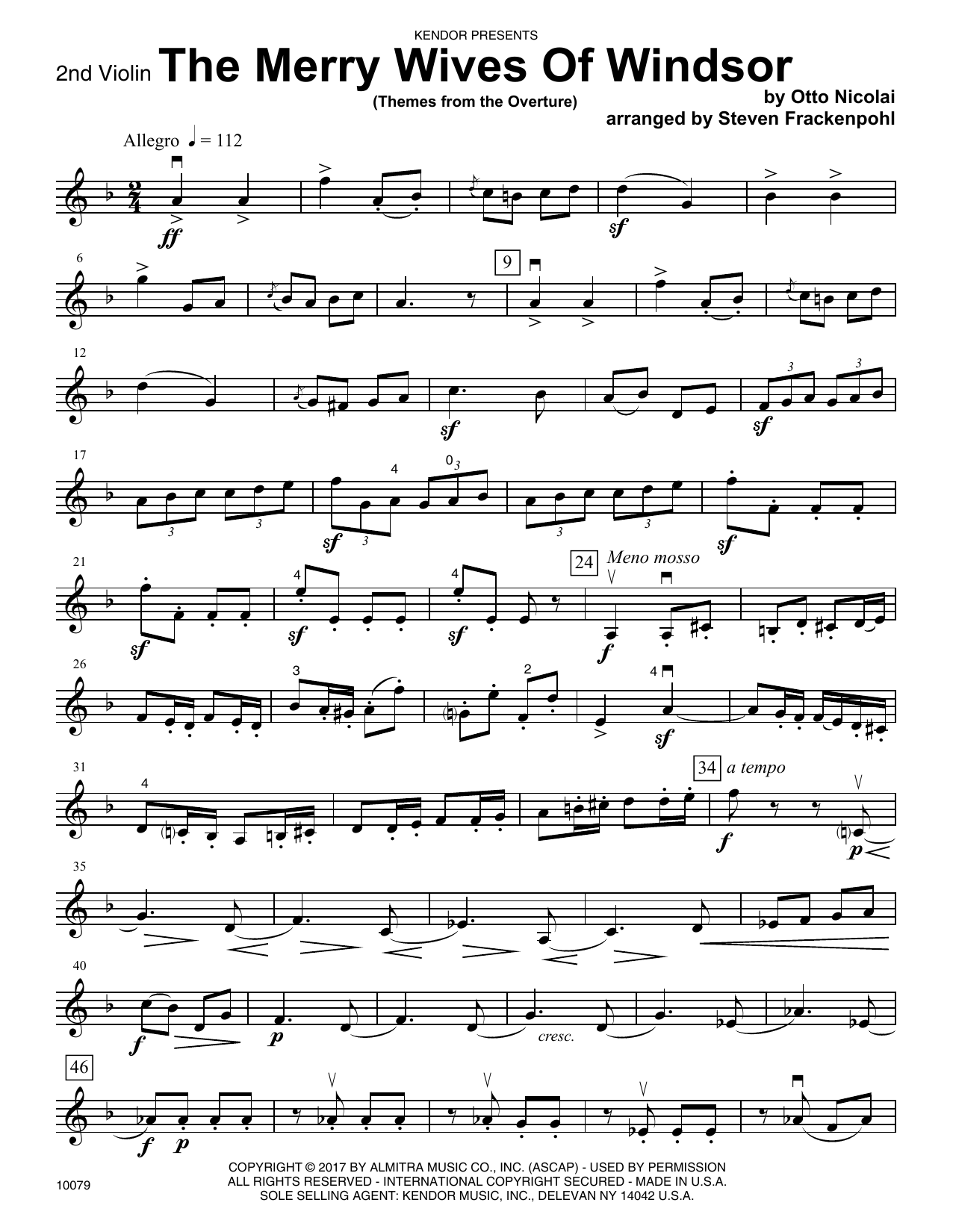 Steven Frackenpohl The Merry Wives Of Windsor (Themes From The Overture) - 2nd Violin sheet music notes printable PDF score