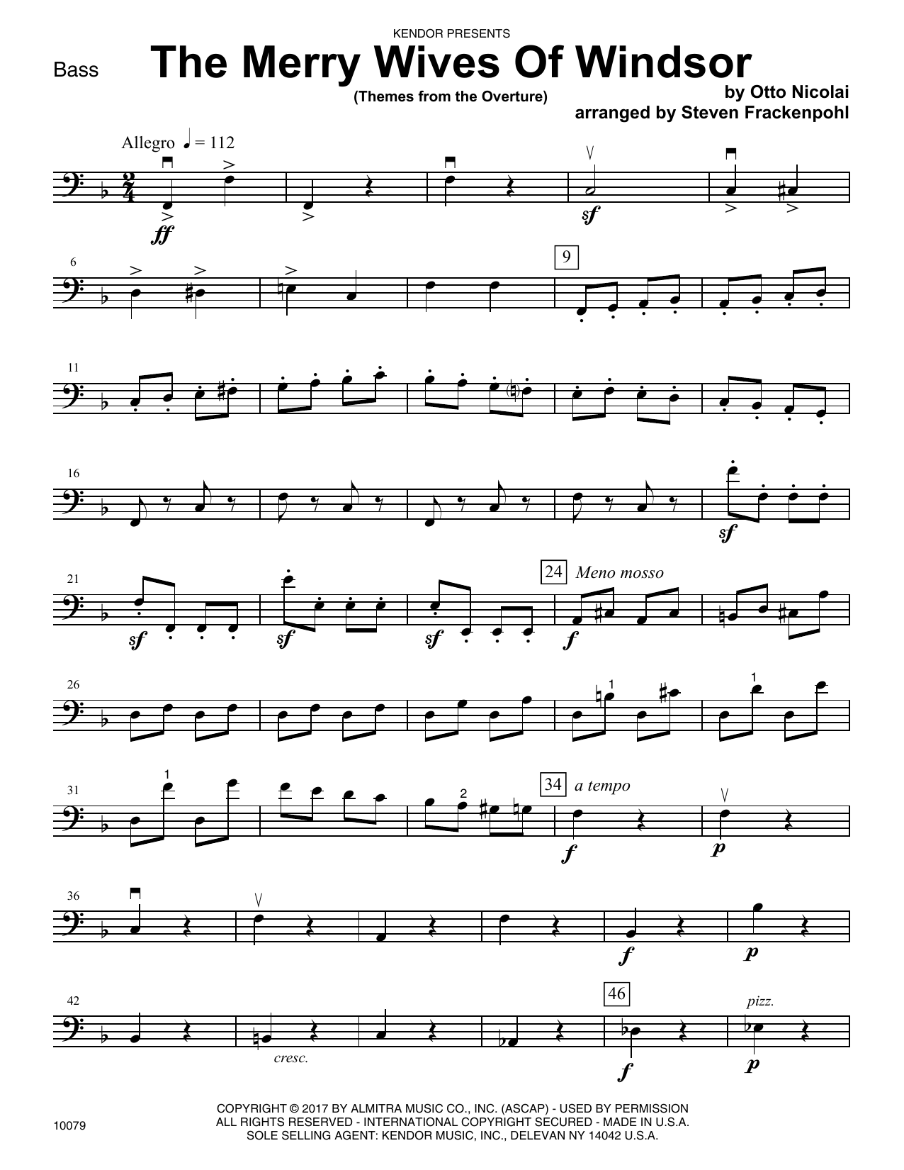 Steven Frackenpohl The Merry Wives Of Windsor (Themes From The Overture) - Bass sheet music notes printable PDF score